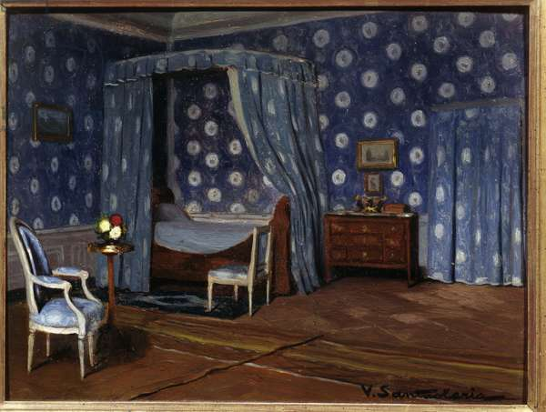 Bedroom of the French writer George Sand (Aurore Dupin, Baroness Dudevant) (1804-1876) at Nohant (oil on canvas)