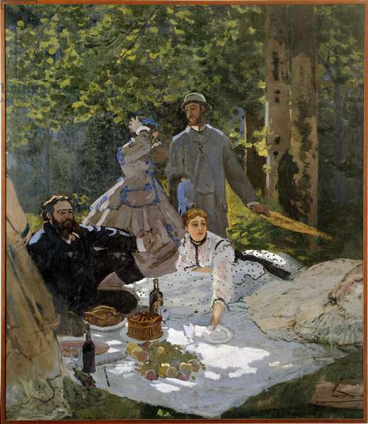 The breakfast on the grass (portrait of Frederic Bazille (1841-1870) in the centre, Camille Doncieux (1847-1879) and Gustave Courbet (1819-1877) a Gauche), 1865 - Sun 2,17 X 2,48m - Oil On Canvas by Claude Monet (1840-1926) - Musee d'Orsay - Luncheon on the grass (Portraits of Frederic Bazille) 1-1870) -at the centre-, Camille Doncieux (1847-1879) and Gustave Courbet (1819-1877) on the left-) 1865 - 2,17 X 2,48 m - Oil on canvas by Claude Monet (1840-1926) - Orsay Museum, Paris