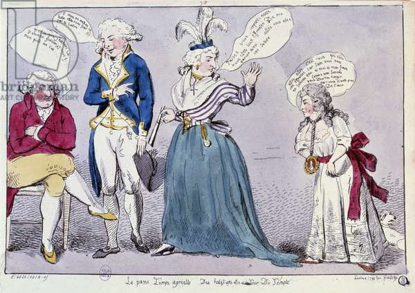 French Revolution: Cartoon against the family of Queen Marie Antoinette (1755-1793) and Louis XVI locked up in the Temple prison. The queen and the king's sister Madame Elisabeth arguing under the eye remains of the king. Their words are written in bubbles. Engraving of the 18th century. Paris, B.N.