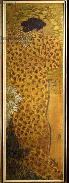 The bathrobe Painting on fabric by Pierre Bonnard (1867-1947) 1892 Nabis Dim. 1,5x0,5 m Paris, Musee d'Orsay