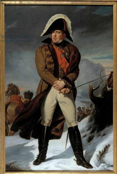 Portrait en pied de Michel Ney (1769-1815), Duke of Elchingen, Prince of Moscova (Moscowa), Marechal of France Painting by Eugene Battaille (1817-1875). 19th century. Dim. 2,15 x 1,4 m.  - Full-length portrait of Michel Ney (1769-1815), Duke of Elchingen, Prince of the Moskva (Moskwa), Marshal of France. Painting by Eugene Battaille (1817-1875). 19th century. 2.15 x 1.4 m. Castle museum, Versailles, France