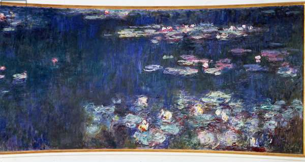 The nympheas, green reflections Diptych right. Painting by Claude Monet (1840-1926) 1914-1926 Dim. 2 x 4.25 m. Paris. Orangerie Museum