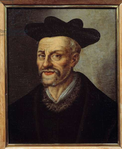Portrait of Francois Rabelais (1494-1553), French writer and doctor. Painting of the French School. 16th century. Sun 0,49x0,40 m Musee du chateau de Versailles