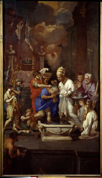 The baptism of Constantine (Constantine I the Great, 270-337). Painting by Pierre Puget (1620-1694), 17th century. Marseille, Musee Des Beaux Arts.