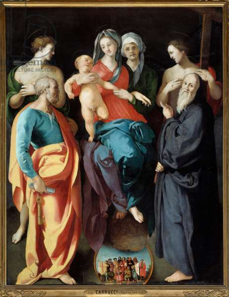 The Virgin has child with Saint Anne and four saints Saint Sebastian, Peter, Benedict of Nursie and the Good Thief (also called Saint Dismas (or Dysmas, Dimas, Dumas) Painting by Jacopo (Iacopo) Carrucci dit il Pontormo (Pontormo) (1494-1556) 1529 Dim 2,28x1,76 m