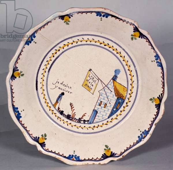 """French revolution: plate with representation of the hotel de la paix """""""" Je desire to get there"""""""". Ceramic of the 18th century. Nevers, Musee Frederic Blandin"""