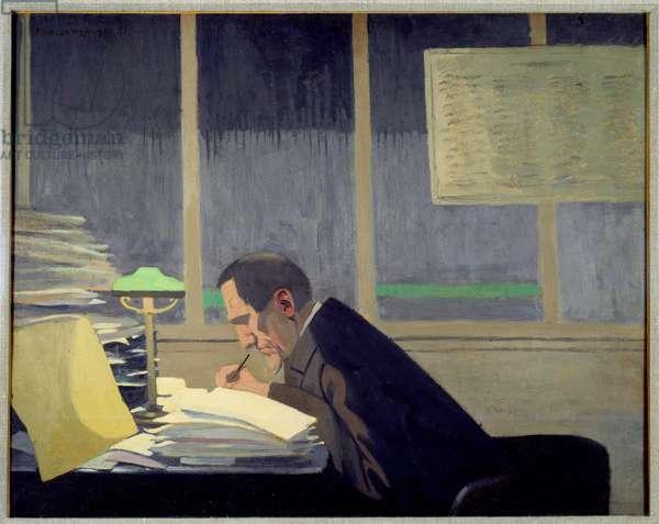 "Portrait of Felix Feneon (1861-1944), art critic, journalist and magazine director at La revue blanche"""" Painting by Felix Vallotton (1865-1925) (ec.suiss), 1896. Private Collection"