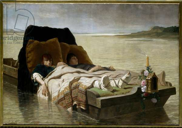 Jumieges enerves. The two sons of Clovis II, who revolted against their parents, were condemned to have the nerves of their arms and legs cut off, and were abandoned in a boat to hear the Seine. Painting by Evariste Luminais (1822-1896), 1880. Oil on canvas. Dim: 1,97 X 2,76m. Rouen, Musee Des Beaux Arts. - The sons of Clovis II. The two sons of Clovis II, rebels against their mother Bathilde and their father after were sentenced to have the tendons of arms and legs cut and left to die on a raft on the Seine. Painting by Evariste Luminais (1822-1896), 1880, Oil on canvas. 1.97 X 2.76 m. Beaux-Arts Museum, Rouen, France