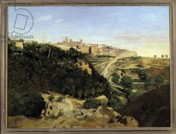 Volterra, le Municipe Painting by Camille Corot (1796-1875) 19th century Sun. 0,7x0,94 m