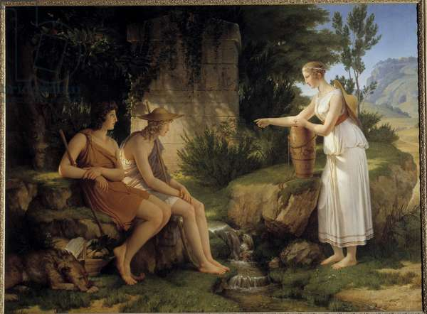 """The Shepherds at the Tomb of Amyntas Illustration of the """"Idyllles"""" by Salomon Gessner - Painting by Pierre Narcisse (Pierre-Narcisse) Guerin (1774-1833) 1805 Sun 1,31x1,76 m"""
