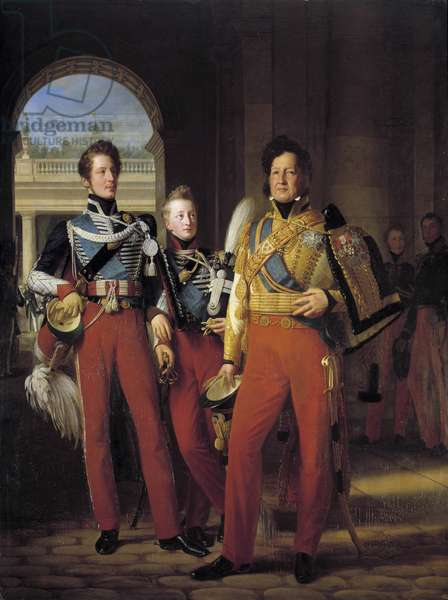 Portraits on foot of Louis-Philippe I (1773-1850), Duke of Orleans in uniform as Colonel-General of the Hussards, and of his sons: the Duke of Chartres and the Duke of Nemours Painting Louis Hersent (1777-1860) after Francois Gerard (1770-1837) 1832. Sun 2,6x1,9 m.  - Full-length portraits of Louis-Philippe I (1773-1850), Duke of Orleans, in uniform of Colonel General des Hussards, and his two eldest sons, the Duke of Chartres and the Duke of Nemours. Painting by Louis Hersent (1777-1860), after Francois Gerard (1770-1837), 1832. 2.6 x 1.9 m.