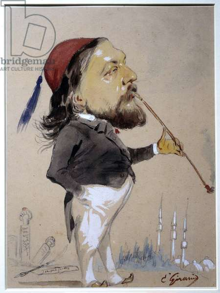 Portrait of Theophile Gautier (1811-1872) smoking his chibouk Drawing and watercolour by Eugene Giraud (1806-1881) 1862 Paris, B.N.