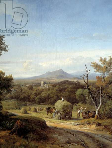 Country scene. Left detail. Painting Georges Prieur (19th century), 19th century. Meaux, Bossuet Museum