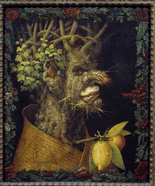 Winter Allegory about the seasons. Painting by Giuseppe Arcimboldo (1527-1593) 16th century Sun. 0,76x0,63 m  - Winter (from a serie depicting the four seasons) - Painting by Giuseppe Arcimboldo (1527-1593), oil on canvas (76x63 cm), 1573 -