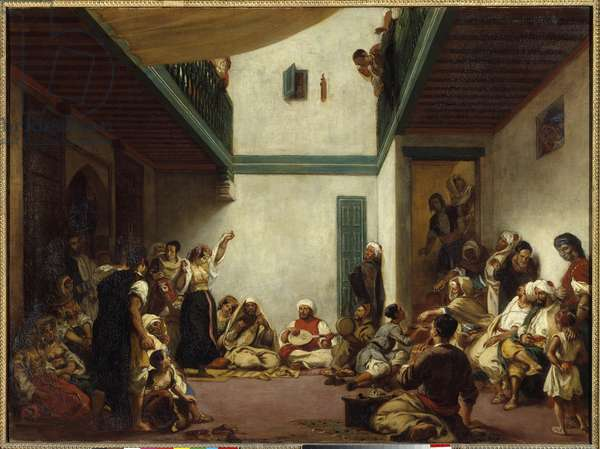 Jewish wedding in Morocco. Painting by Eugene Delacroix (1798-1863), 19th century. Oil on canvas. Dim: 1,05x1,40m.  - Jewish wedding in Morocco. Painting by Eugene Delacroix (1798-1863), 19th century. Oil on canvas. 1.05 x 1.40 m. Louvre Museum, Paris