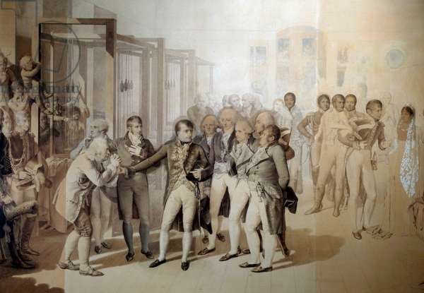 Napoleon Bonaparte (1769-1821), First Consul, in the presence of Josephine de Beauharnais, visits the velvet factory of the Sevene brothers in Rouen, November 1802 Drawing in the wash of Jean Baptiste Isabey (1767-1855) 1804 Sun. 1,24x1,76 m Versailles, musee du chateau