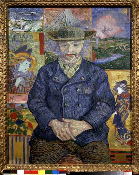 Portrait of Father Tanguy Painting by Vincent Van Gogh (1853-1890) 1887 Sun. 0,92x0,73 m Paris, musee Rodin - Portrait of father Tanguy (Julien Tanguy, 1825-1894) - Painting by Vincent van Gogh (1853-1890), oil on canvas (92x73 cm), 1887 - Musee Rodin, Paris, France