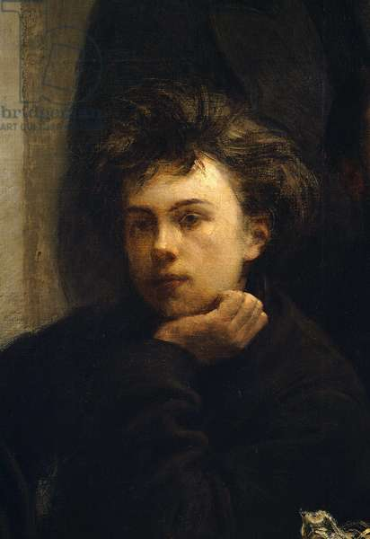 A corner table, detail. Portrait of Arthur Rimbaud (1854 - 1891), French poet. Painting by Henri Fantin Latour (Fantin-Latour, 1836-1904), 1872. Musee d'Orsay.