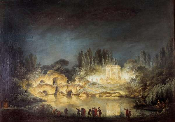 Illumination of the Belvedere pavilion in the gardens of the Peer Trianon in Versailles during the feast given by Queen Marie Antoinette in honor of her brother Joseph II (1741-1790) in August 1781. Painting by Claude Louis Chatelet (1753-1794), 1781. Oil on canvas. Dim: 0,59 x 0,80m.