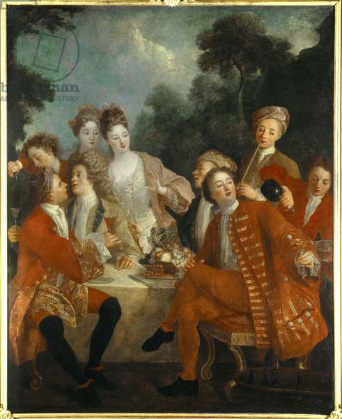 Lunch in the Parc Des nobles at a country banquet. Painting of the French school of the 18th century. Orleans Museum of Fine Arts