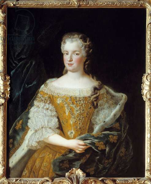Portrait of Queen Mary Lesczinska (1703-1768). Painting by Alexis Simon Belle (1674-1734), 1730. oil on canvas. Dim: 1.02 x 0.81m. Blois, Musee Communal Du Chateau