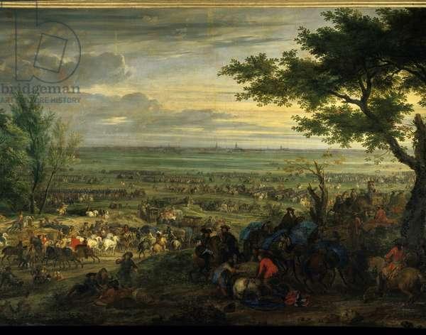 """The War of Devolution (1667-1668): """""""" Arrivee de Louis XIV devant Douai le 06/07/1667"""""""" Painting by Adam van der Meulen (1632-1690) 1667 Sun. 2,2x3,28 m Versailles, musee du chateau."""