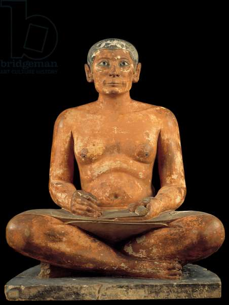 """Egyptian antiquite: """""""" The scribe squatting"""""""" Statue in limestone, albaster and rock crystal. Comes from sakkarah (Saqqara) (around 2620 - 2350 BC). 4th or 5th dynasty) Sun. 0,537m, Musee du Louvre, Paris - Egyptian Antiquity: """""""" Crouching Scribe Statue"""""""" Limestone alabaster and rock crystal statue. From Saqqara (Sakkara) (about 2620-2350 BC). 4th or 5th Dynasty. 0.537 m. Louvre Museum, Paris"""