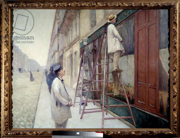 Painters in building in 1877. Painting by Gustave Caillebotte (1848-1894), 1877. Dim: 1,13 x 0,85m. Private collection. - The House painters, 1877. Painting by Gustave Caillebotte (1848-1894), 1877. 1.13 x 0.85 m. Private collection.