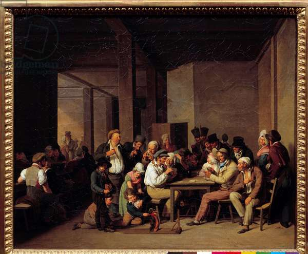 Players in a Cabaret Painting by Louis Leopold Boilly (1761-1845) 19th century. Dim: 0.37x0.47m.