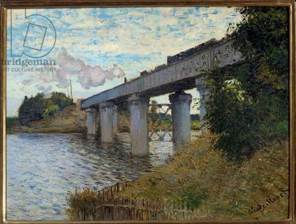 Le pont du chemin de fer à Argenteuil Painting by Claude Monet (1840-1926) 1873 Sun. 0,55x0,72 m Paris, musee d'Orsay - The railway bridge at Argenteuil. Painting by Claude Monet (1840-1926), 1873. 0.55 x 0.72 m. Orsay Museum, Paris