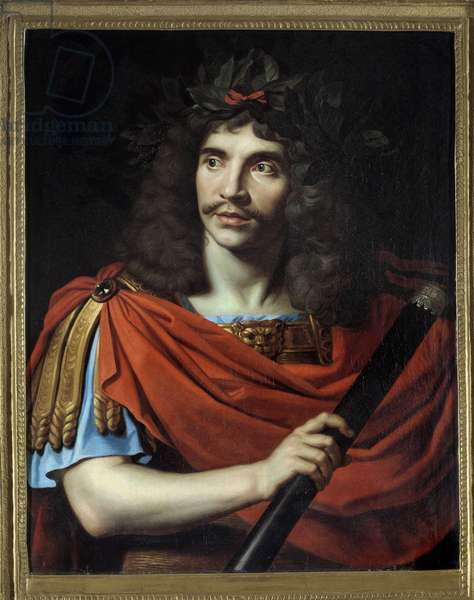 """Portrait of the French comedian and playwright Jean-Baptiste Poquelin dit Moliere (1622-1673) in Cesar in La mort de Pompee"""""""""""" by Corneille"""""""" Painting by Nicolas Mignard (1606-1668). 1657 approx. Sun. 0,75x0,6 m. Comedie francaise Paris - Portrait of the French actor and playwright Jean- Baptiste Poquelin, known by his stage name Moliere (1622-1673), as """""""" Julius Cesar"""""""" in the play """""""" La mort de Pompee"""""""""""" by Corneille. Painting by Nicolas Mignard (1606-1668), ca.1657. 0.75 x 0.6 m. Comedie francaise, Paris"""