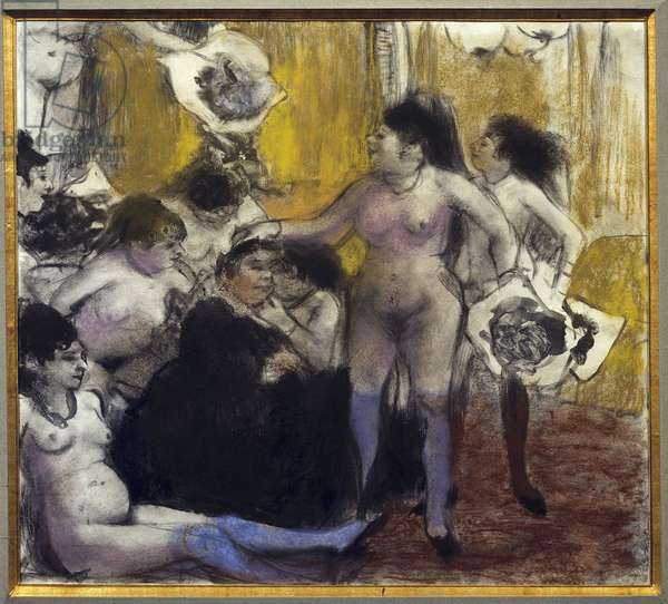 The party of the patron Maison close during a party in honor of a proxenete. Painting by Edgar Degas (1834-1917) 1879 Sun. 0.26 x 0.29 m. Paris. Picasso Museum