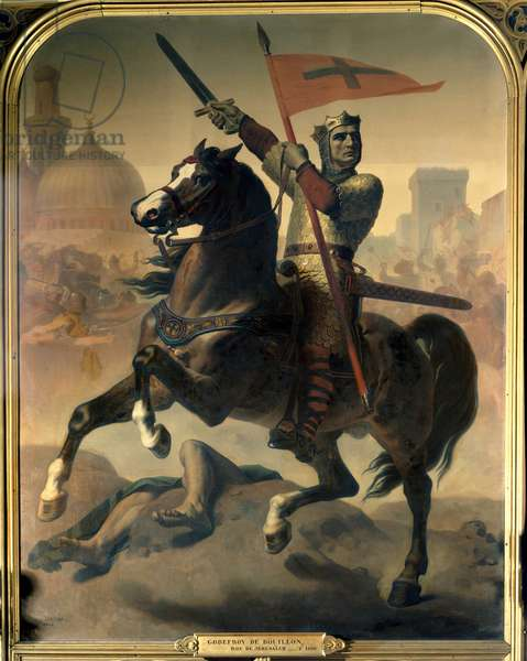 Equestrian portrait of Godefroi (or Godefroy) of Bouillon (1040/61-1100), King of Jerusalem Painting by Emile Signol (1804-1892) 1844 Dim.2,98 x 2,30 m Versailles. Chateau Museum