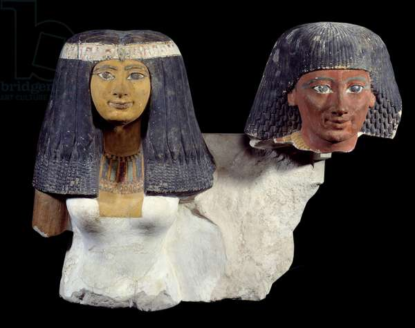 Art of Ancient Egypt: Senynefer and his wife Hatshepsut (1410 BC). Sculpture of the 18th dynasty new empire. Paris, Musee Du Louvre.