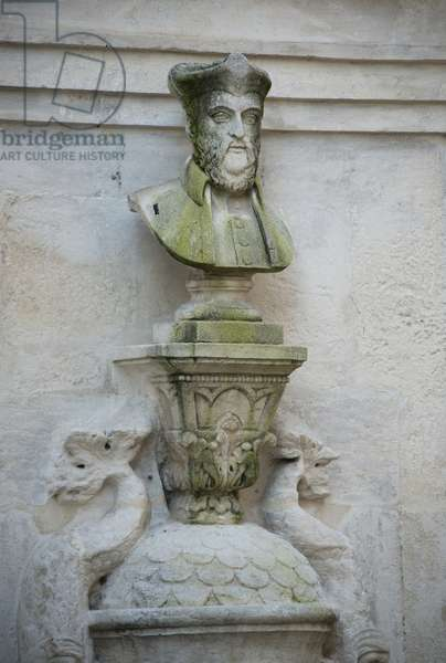Fountain of 1814 with the bust of Nostradamus of 1859, Saint Remy de Provence