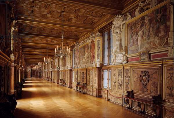 Galerie Francois I at the castle of Fontainebleau: woodwork and wall paintings made in the 16th century