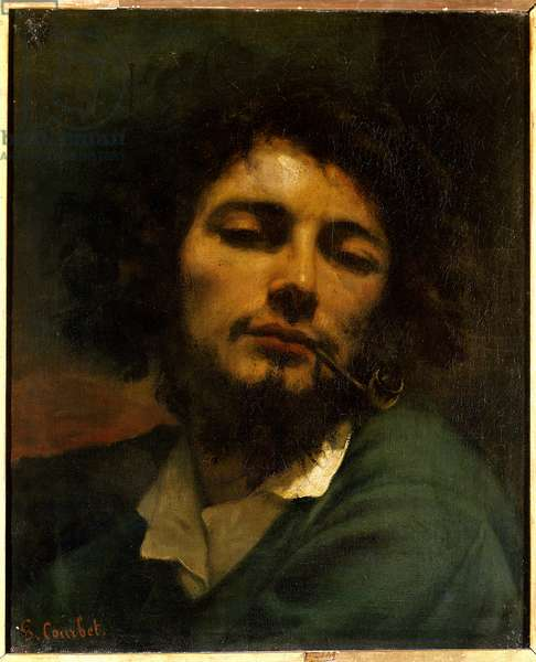 Man has the pipe (h s/t 0.45 x 0.37), painting by Gustave Courbet of 1849 (1819-1877) Montpellier. Fabre Museum.