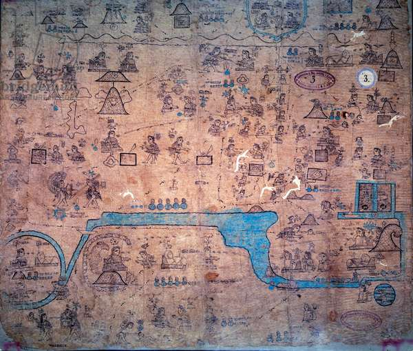 """War against the peoples of the north led by Yacanex; the death of Chiconquauthli, chief Acolhua, of Xolotl, to which Nopaltzin, of Achitometl, king of Colhuacan succeeded. Map of the Chichimeque nation, from Emperor Amacui Xolotl to Nezahualcoyotl (963-1428) (or Codex Xolotl) based on the interpretation of indigenous columnist Don Fernando de Alva Ixtlilxochitl. Manuscript """""""" History of the descendants of the ruler Xolotl to Nezahualcoyotl (1068-1427) - Texcoco"""""""""""", Plate 3 1540? -1542? BN, Paris."""