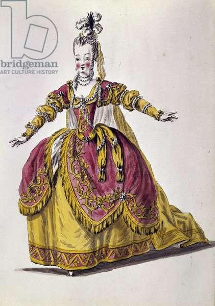 18th century theatre costume, engraving of 19th century Paris, B.N.