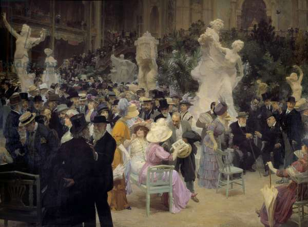 """Belle epoque: """""""" A Friday at the Salon des artistes français"""""""" Members of the Parisian bourgeoisie meet on the occasion of social events. Detail. Painting by Jules Alexandre Grun (1868-1934) 1911 Sun. 3,6x6,16 m Rouen, Musee des Beaux Arts"""