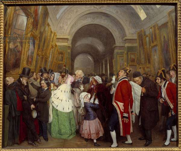 Four hours at the Salon Closure of the annual painting show in the Grande Galerie du Louvre. Painting by Francois Auguste Biard (1798-1882) 1847 Sun. 0,57x0,67 m