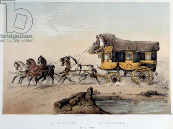 """La diligence"""""""" Lithography by Albert Adam (1833-?) 1870 Paris, Musee Carnavalet"""