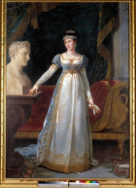 Portrait en pied de Marie-Paulette dit Pauline Bonaparte, princess Borghese (1780-1825), Duchess of Guastalla Painting by Robert Lefebvre (1755-1830), 1806, Dim. 2,16 x 1,51 m -  - Portrait of Pauline Bonaparte (1780-1825), Duchess of Guastalla - Painting by Robert Lefebvre Bvre (1755-1830), oil on canvas (216x151 cm), 1806 - Museum of the chateau, Versailles, France