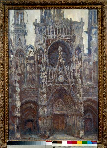 Cathedrale de Rouen, the portal, brown harmony Painting by Claude Monet (1840-1926) 1892 Sun. 1,07x0,73 m Paris, musee d'Orsay - Rouen Cathedral, the Portal, harmony in brown. Painting by Claude Monet (1840-1926) 1892. 1.07 x 0.73 m. Orsay Museum, Paris