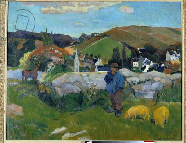 The Pork Guardian in Brittany in 1888 - Painting by Paul Gauguin (1848-1903), 1888 - Oil On Canvas - Los Angeles, Los Angeles County Museum of Art