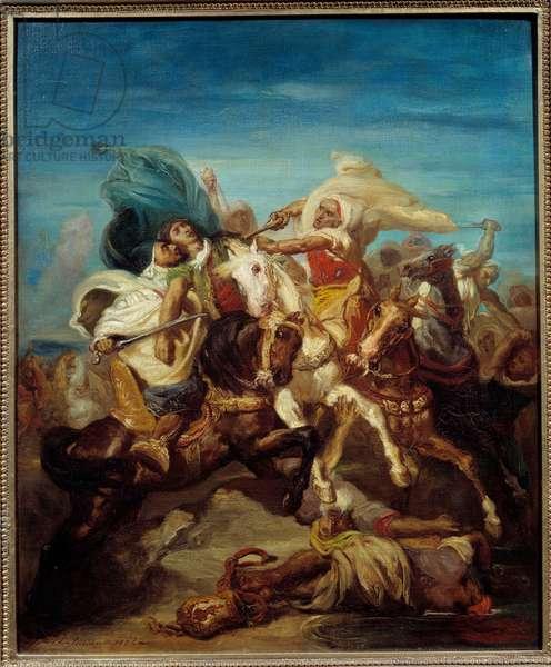 Battle of Arab Horsemen Painting by Theodore Chasseriau (1819-1856) 1856 Sun. 0,65x0,54 m