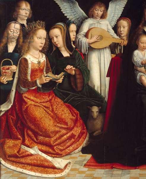 The Virgin among the saints. Detail of Saintes: Sainte Dorothee, Sainte Catherine, Sainte Agnes, Sainte Fausta. Painting by Gerard David (1460-1523) Ec. Flam., 1509. Rouen. Museum of Fine Arts