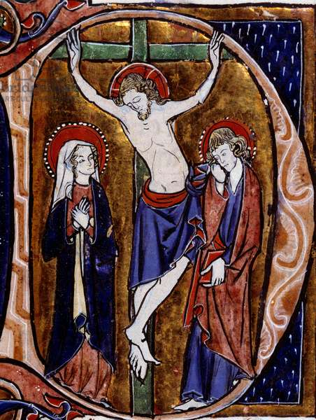 """Scene of crucifixion in a letterhead (letter D). Miniture in """""""" Speculum historiale"""""""" by Vincent De Beauvais (12th century), 1260. Dijon, Municipal Library"""