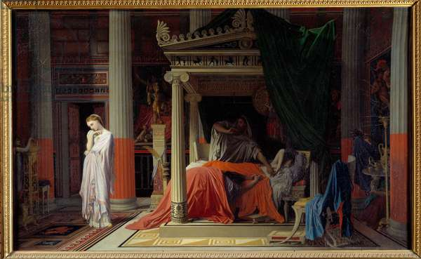 Antiochus disease or Antiochus and Stratonice Antiochus (324-261 BC) is sick of love for his stepmother Stratonice. Painting by Jean Auguste Dominique Ingres (1780-1867) 1840 Sun. 0,57x0,98 m Chantilly, musee Conde - The disease of Antiochus or Antiochus and Stratonice (324-261 BC). Antiochus is sick with love for his stepmother Stratonice. Painting by Jean Auguste Dominique Ingres (1780-1867), 1840. 0.57 x 0.98 m. Conde Museum, Chantilly, France