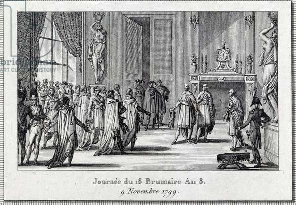 """Consulate: """""""" Napoleon Bonaparte (1769-1821) at the meeting of Saint Cloud on the 18 brumaire (9/11/1799)"""" The Coup d'Etat of the 18 brumaire by Napoleon Bonaparte at the Council of Five Cents (Five Cents) (room of 500), protected by grenadiers, ends the Directory and gives birth to the Consulate. Engraving by Louis Francois Couche (1782-1849) 19th century Paris, Musee Carnavalet"""